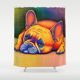 Colorful French Bulldog Rainbow Dog Pet Portrait Shower Curtain