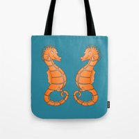 seahorse Tote Bags featuring Seahorse by mailboxdisco