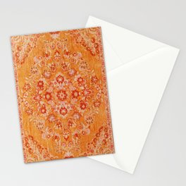Orange Boho Oriental Vintage Traditional Moroccan Carpet style Design Stationery Cards