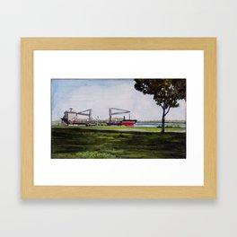 Ship on the Delaware at Penn Treaty Park Framed Art Print