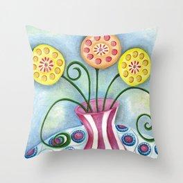 Lollipop Flowers Throw Pillow
