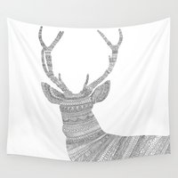 stag Wall Tapestries featuring Stag / Deer by Florent Bodart / Speakerine