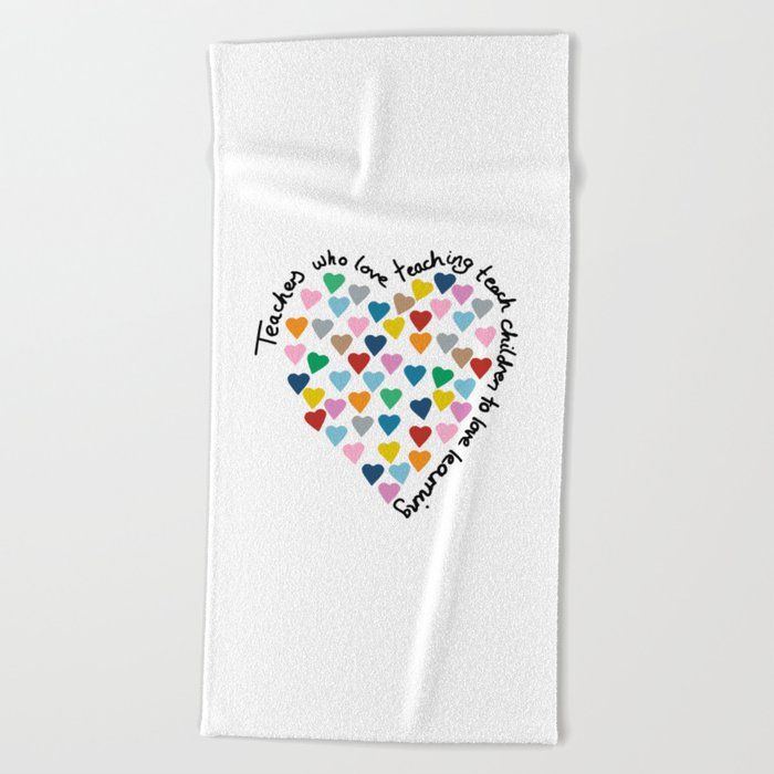 Hearts Heart Teacher Beach Towel