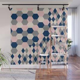Honeycomb Blush and Grey Wall Mural
