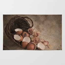 Basket with egg shells and roses Rug
