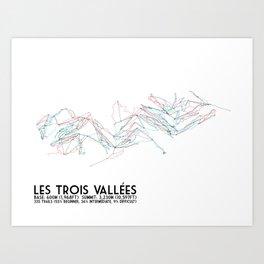 Les Trois Vallees, Savoie, France - European Colors - Minimalist Trail Art Art Print