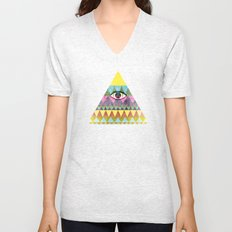Pyramid in Space. Unisex V-Neck