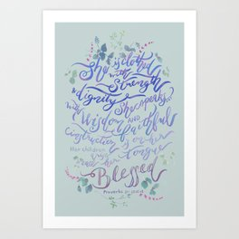 She is Clothed in Strength - Proverbs 31 for moms - light sage Art Print