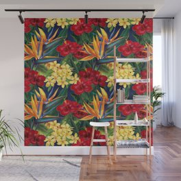 Tropical Paradise Hawaiian Floral Illustration Wall Mural