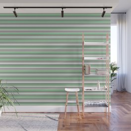 Pastel Mint Green and Gray Horizontal Line 4 on Linen White Pairs to 2020 Color of the Year Neo Mint Wall Mural
