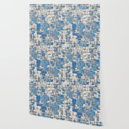 Multi Geometrical Pattern Faded Blues Wallpaper