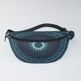 Dark Blue and Turquoise Kaleidoscope Pattern Fanny Pack