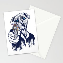 Certified Dog Lover?Here's a Unique t-shirt design with an illustartion of a Dog With a Gun T-shirt Stationery Cards