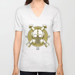 Art Deco Gasmask Crossbones Unisex V-Neck