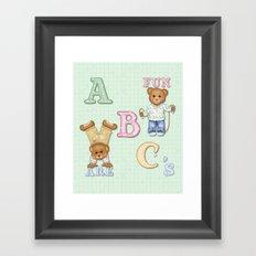 Teddy Bear Alphabet ABC's Green Framed Art Print