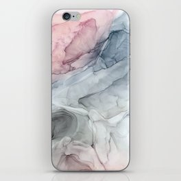 Pastel Blush, Grey and Blue Ink Clouds Painting iPhone Skin