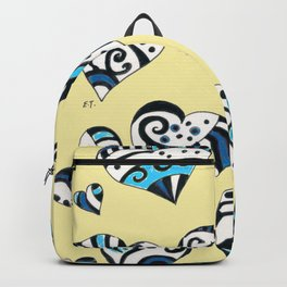 Blue Teal Hearts On Yellow Backpack
