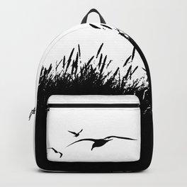 Seagulls Flying over Sand Dunes Backpack