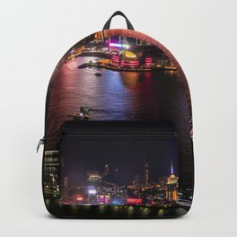 Night Lights on Hong Kong's Victoria Harbour Backpack