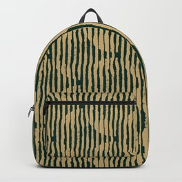 Zen Circles Block Print In Green and Gold Backpack