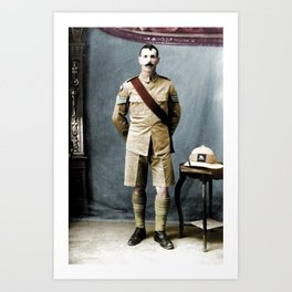 Queen's Royal Regiment Soldier Studio Photograph during the First world War Art Print