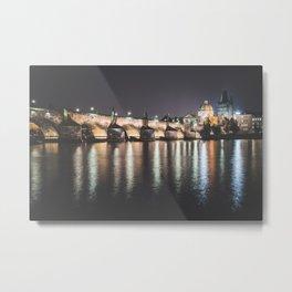 Prague at Night Metal Print