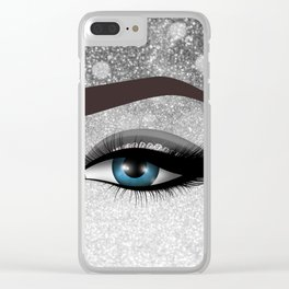 Glam diamond lashes eye #1 Clear iPhone Case