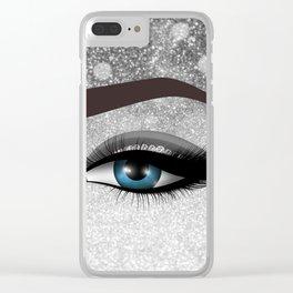 Glam diamond lashes eye #1 Clear iPhone Case