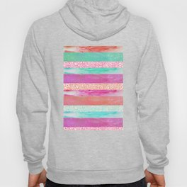Tropical Stripes - Pink, Aqua And Peach Colorway Hoody