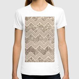 Sepia Glitter Chevron #1 #shiny #decor #art #society6 T-shirt