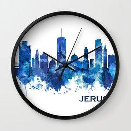 Jerusalem Israel Skyline Blue Wall Clock