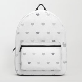 Small grey hearts pattern on white Backpack