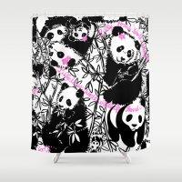 pandas Shower Curtains featuring Pandas by beach please