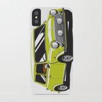 mini cooper iPhone & iPod Cases featuring Mini Cooper Car - Chartreuse by C Barrett