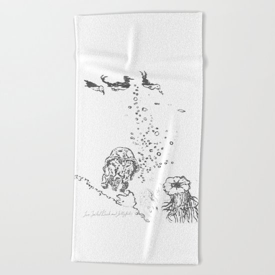 Two Tailed Duck and Jellyfish White Beach Towel
