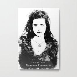 Katie McGrath - Morgana Pendragon Black and White Metal Print