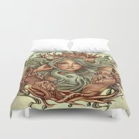elephants Duvet Covers featuring Elephants by Heather Hitchman