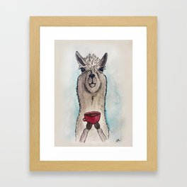 Just a Llama & His Latte Framed Art Print