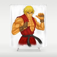 street fighter Shower Curtains featuring Ken Street Fighter by jasonarts
