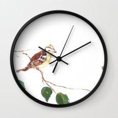 Bird painted on wood Wall Clock