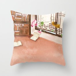 Watercolor Illustration of a bookshelf in the room Throw Pillow