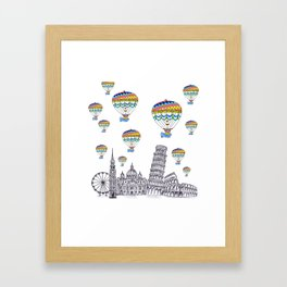 Travel with Air Balloons Framed Art Print