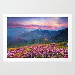 Blooming mountains Art Print