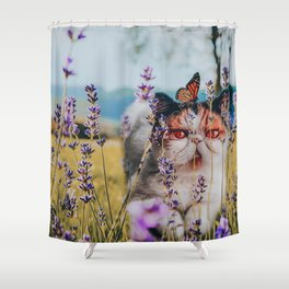 Cat and butterfly Shower Curtain