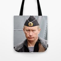 putin Tote Bags featuring Putin seaman. by Mikhail Zhirnov
