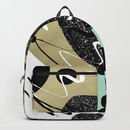 Gold Mint Black White Abstract Glam #1 #trendy #decor #art #society6 Backpack