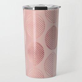 Rose Gold Leaf Pattern Travel Mug
