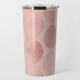 Rose Gold Leaf Pattern Travel Mug