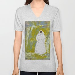 Ethnic Lady in Greens and Blues Unisex V-Neck