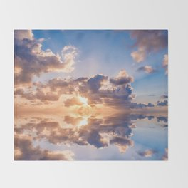 sunset sky over ocean water - landscape photography Throw Blanket
